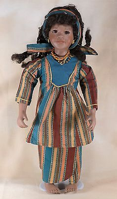 "Ashton Drake 17"" Porcelain Doll Black African American 1995 With Stand"