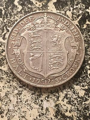1913 Great Britain 1/2 Half Crown Lot#3052 Silver! Better Date!