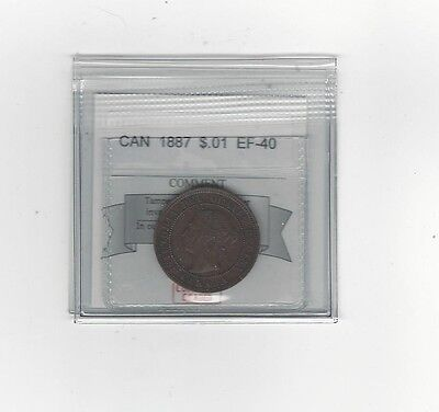 **1887**,Coin Mart Graded Canadian, Large One Cent, **EF-40**