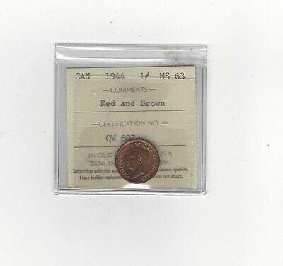 **1944**,ICCS Graded Canadian, Small One Cent, **MS-63**