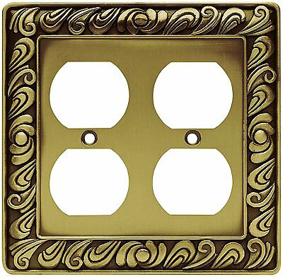 64197 Tumbled Antique Brass Paisley Double Duplex Outlet Cover Plate