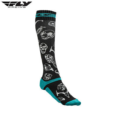 New Fly Adult L/XL UK 09-12 Socks MX Pro Thin Motocross Enduro Teal/Black