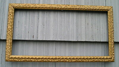 Antique Aged Ornate Gold Swirl~Leaf Surface Picture Frame 8 x 16