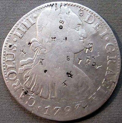 Mexico 1793 Mo, FM Silver 8 Reales Charles IIII - Chop Marked