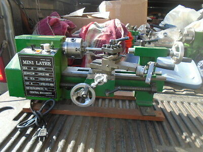"MACHINIST TOOLS LATHE MILL Machinist Central Machinery 7"" Lathe Long Bed"