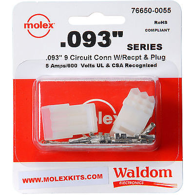 "Molex 9-Pin Connector Socket Kit 0.093"" 1 Set ( Wire Range 22 AWG to 18 AWG )"