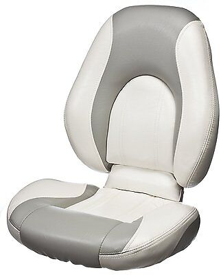 TEMPRESS Deluxe Trojan High Back Boat Seat, White/Gray