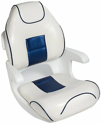 TEMPRESS Elite Ultimate High Back Helm Seat, White/Blue with Blue Welt
