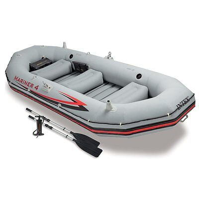 Intex Mariner 4, 4-Person Inflatable Boat Set with Aluminum Oars and High...