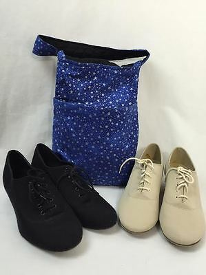 International Dance Shoes, 2 Pair, Beige and Black, Women's Size 7.5 W Carry Bag