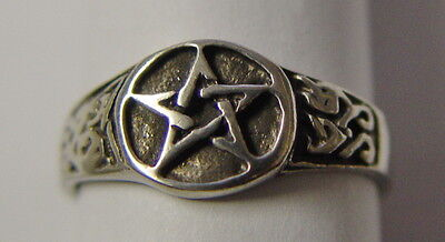 RING: SIZE 10 PENTAGRAM - PEWTER - Wicca Pagan Witch Goth Punk Charmed Occult