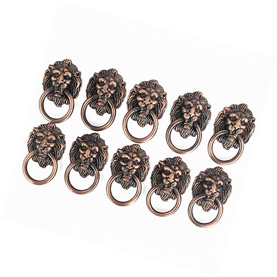 Dresser Drawer Cabinet Door Ring Lion Head Pull Handle Knob 10pcs