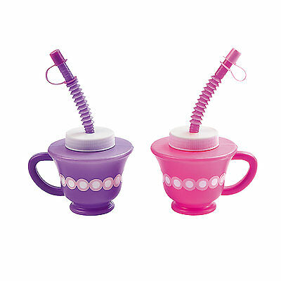 Tea Cupcake Princess Party Supplies 1 Novelty Plastic Tea Cup With Straw