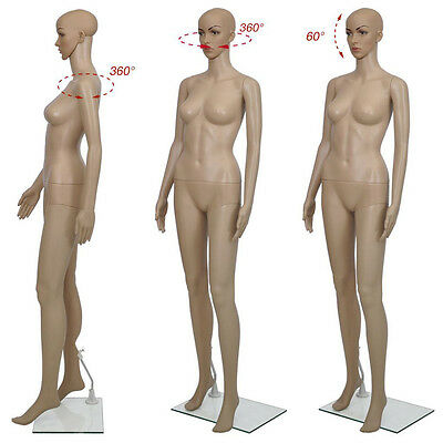 Female Mannequin Plastic Realistic Display Head Turn Full Body Dress Form w/Base