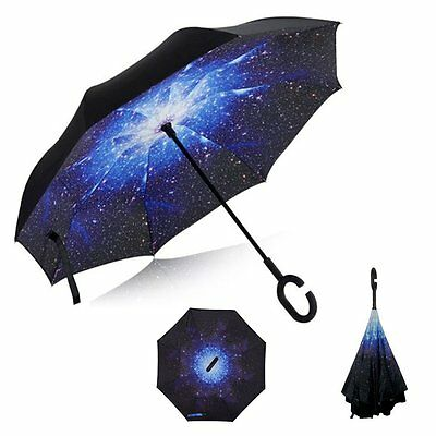 GREATLY Reverse Folding Double Layer Inverted Umbrella C-shaped Hands Handle...