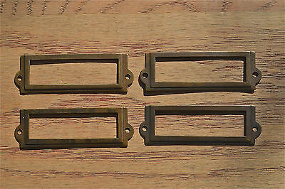 4 antiqued brass file cabinet label holder name plan chest map drawer LH1