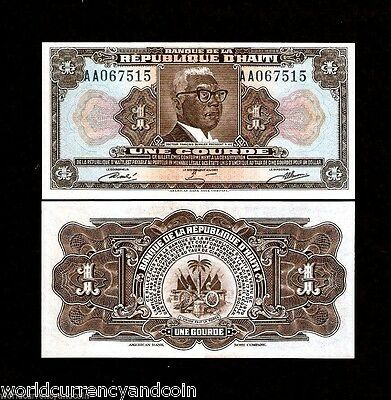 Haiti 1 Gourde P230A 1979 Tyvek Dr.francois Duvalier Unc Currency Bill Bank Note