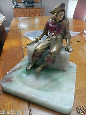 Art Deco J B Hirsch Spelter Figure of a pirate on Alabaster pin / ring tray Base
