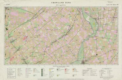 Crowland Fens (TF11 and TF21) Land Use Survey Sheet 499. 85x55cm 1961 old map