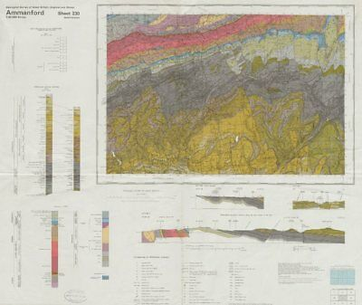 Ammanford. Vintage geological survey map. Sheet 230. Wales Brecon Beacons 1977