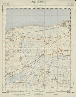 Vintage Ordnance Survey OS map sheet TR26 Stourmouth Sarre Monkton 1960