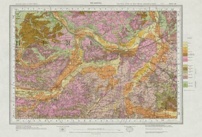 Reading geological survey sheet 268 Thames Valley Goring-Wargarve 1971 old map