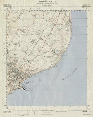 Vintage Ordnance Survey OS map sheet TR34 Dover St Margaret's at Cliffe 1960