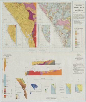 Gosforth and Bootle geological survey map sheet 37 & 47. Cumbria Sellafield 1980