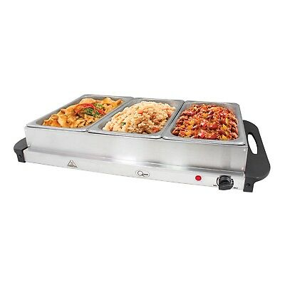 Buffet Server Warming Tray Hotplate With 3 Sections Food Warmer Serving Station