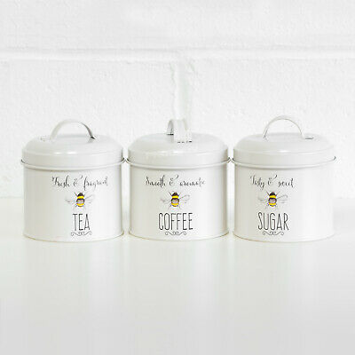 700ml Cream Enamel Bee Happy Tea Coffee Sugar Canisters Storage Jars Containers