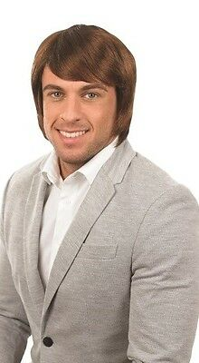 Mens Brown Boy Band Celebrity Wig  1970s 1980s Fancy Dress Costume Accessory