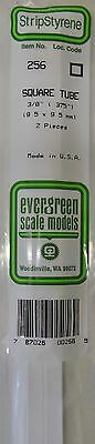 "Evergreen Strip Styrene 256. 2 Pces 3/8"" Square Tube"