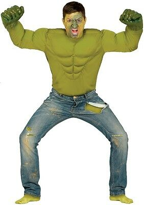 Mens Green Angry Comic Book Superhero Halloween Film Fancy Dress Costume Outfit