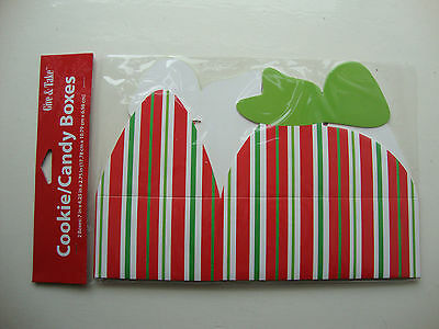2 x Red white green stripe COOKIE boxes CANDY box GIFT boxes Christmas Packaging