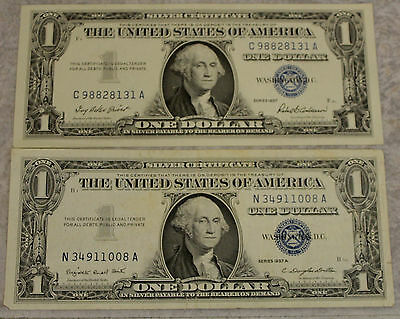 QTY 2 1957 Star $1 One Dollar Bill Blue Seal Note Paper Money Silver ...