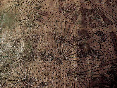 Antique Rare 18thc 1700's Hand Printed Fabric ~ Brown Metallic Fan Butterfly