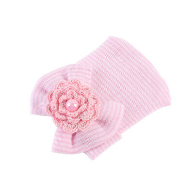 Pack of 4 Newborn Baby Infant Striped Bow Beanie Hat Hospital Cap 0-6 Months