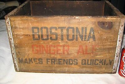 Antique Boston Ma Usa Bostonia Wood Ginger Ale Soda Bottle Beer Art Sign Box