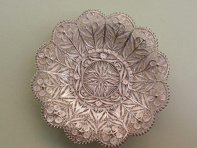 Antique Small Continental White Metal Silver Filagree Bon Bon Sweet Bowl Dish