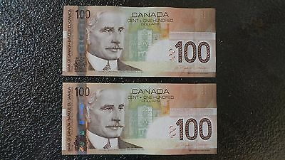 2 Canadian $100 Dollar Bank Note Bill CONSECUTIVE NUMBERS Canada 1988 EXCELLENT