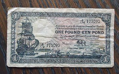 1947 South Africa One Pound/ Een Pond  Note/paper Money. Condition: Fair