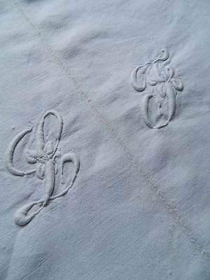 """Antique French linen metis hand loomed sheet - hand embroidered monogram """"L.J"""""""