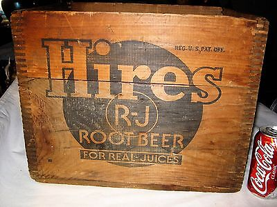 Antique Usa Hires Root Beer Soda Bottle Advertising Sign Wood Box Crate Holder