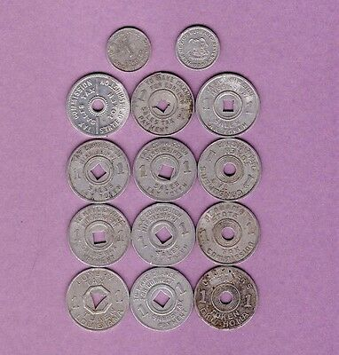Mixed Lot of Fourteen (14) Tax Tokens - Collection Lot #B