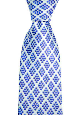 """Mens BRIONI Italy Light Blue Cluster Hand Made Woven 3.25"""" Silk Neck Tie NWT!"""
