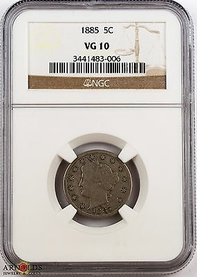 1885 Liberty Nickel VG10 NGC - Extremely Rare Key Date!