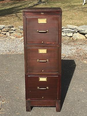 Antique GLOBE Wernicke 3 Stack Filing File Wood Office Cabinet