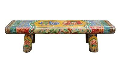 Chinese Vintage Color Elephants Graphic Long Wood Bench Table cs2491