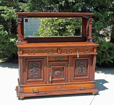Solid Walnut Victorian Sideboard Buffet with Carved Sea Serpents and Keys c1875