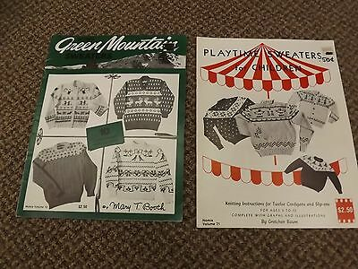 Vtg Lot of 2 Knitting Patterns Books Family Sweaters Animals Indian Boats Nordic